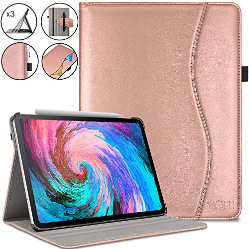 Premium Cover Pocket - VORI Case for iPad Pro 11 inch 2018,Premium Leather Smart Shell with Hand Strap, Multi Angle Viewing Folio Cover with Pocket and Auto Wake/Sleep Support 2nd Gen Pencil Charging for iPad 11