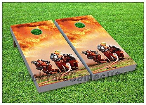 CORNHOLE BOARD Set BEANBAG TOSS GAME w Bags Fire Fighter Fireman Flames Set 80 - Fireman Board Game