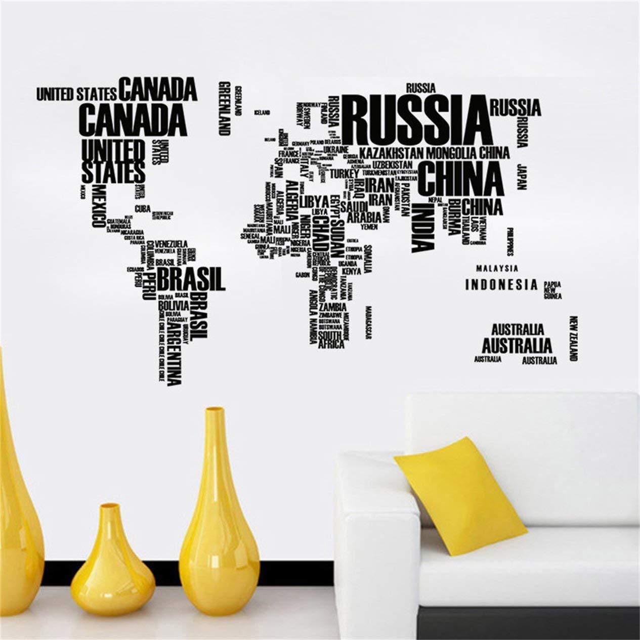 Cartas, mapa del mundo,etiqueta de la pared,Cartas, mapa del mundo, etiqueta de la pared Cartas creativas, arte de la pared, calcomanía, impermeable, ...