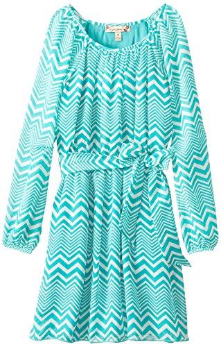 Speechless Big Girls' Raglan Long Sleeve Dress with Chevron Print