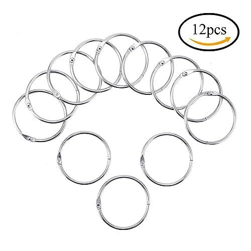 CCINEE 12pcs 1.8inch/46mm Metal Book Binder Rings Loose Leaf Ring, Silver