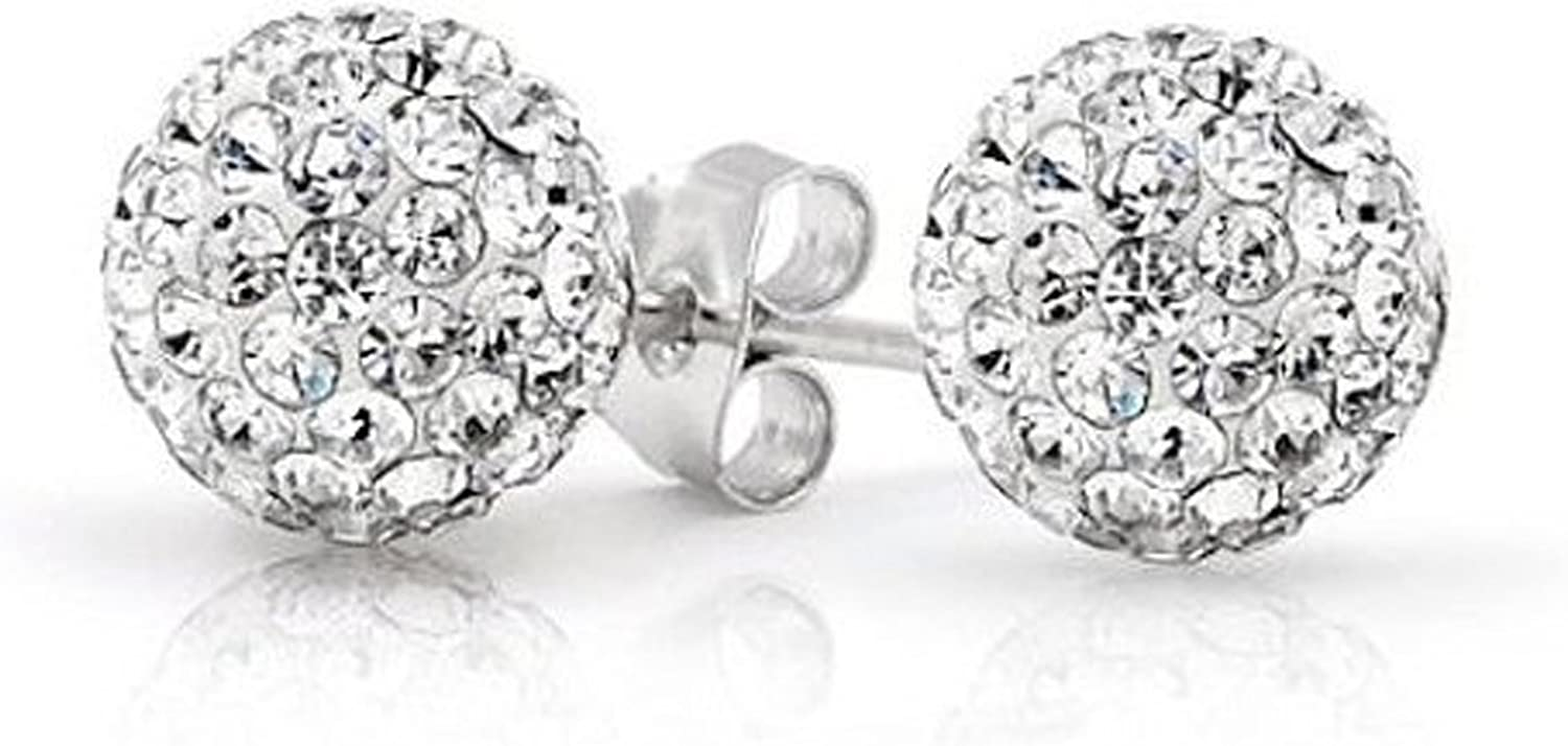 Solid 925 Sterling Silver White Clear Bead Crystal Disco Ball Stud Post Earrings 6MM 8MM 10mm Gift