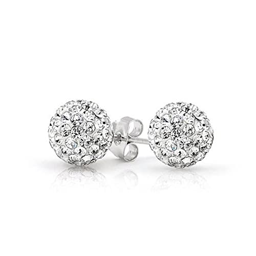 71a57229d Amazon.com: Solid 925 Sterling Silver White Clear Bead Crystal Disco Ball  Stud Post Earrings 6MM 8MM 10mm Gift: Jewelry