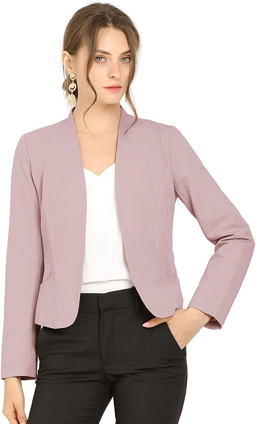 Allegra K Women's Work Office Open Front Collarless Suit Jacket Fomal Cropped Blazer