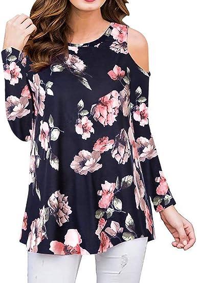 Camisa de Mujer Poliéster Blusa Fluida Semi Slim Suave Top Fresco Casual y Moda Shirts Cuello Redondo Sudadera Estampado Floral Tops Sin Tirantes Shirt: Amazon.es: Ropa y accesorios