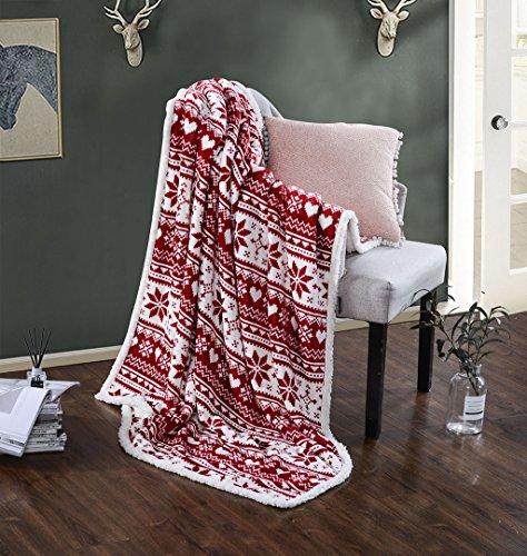 HYSEAS Snowflakes Print Sherpa Throw Blanket with Storage Ba
