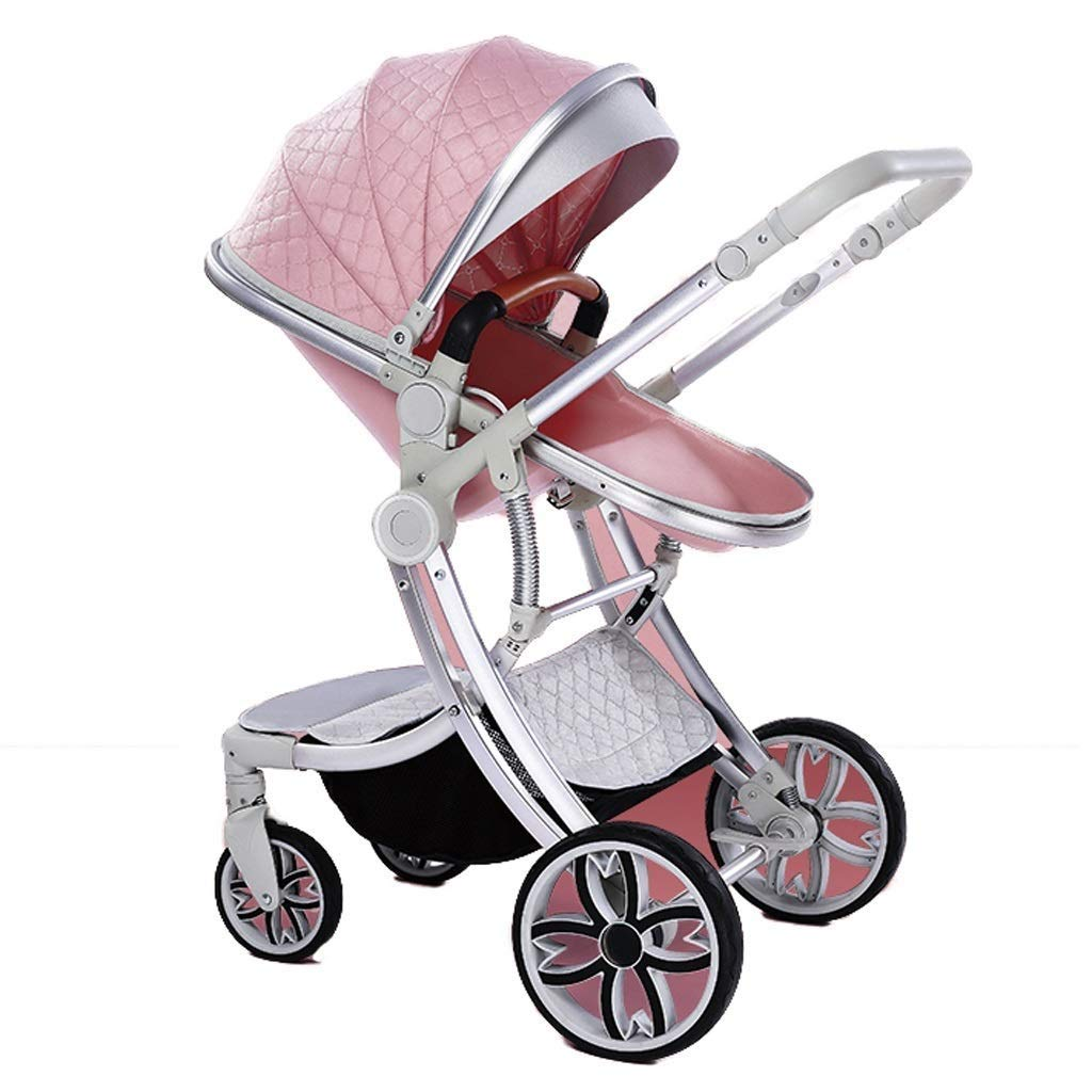 Zsail Baby Stroller Can Sit Lie and Fold Light and High Landscape Two-Way Newborn Summer Pram Compound Eggshell Seat (Color : Pink)