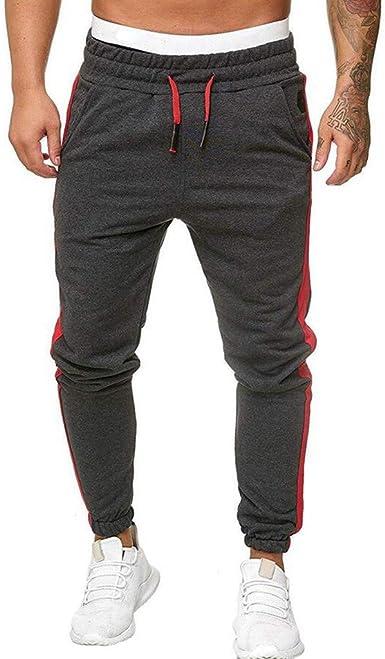 Mens Drawstring Elastic Waist Trousers Long Pants Workout Sweatpants Joggers Sz