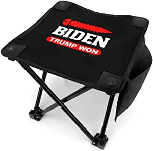 Screw Biden Trump Won Rigged Election Folding Camping Stool Portable Fishing Slacker Chair Mini Foldable Stool for Outdoor Backpacking Hiking BBQ Picnic Travel Gardening and Beach with Carry Bag