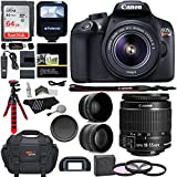 Canon EOS Rebel T6 Digital SLR Camera Kit with EF-S 18-55mm f/3.5-5.6 IS II Lens, Sandisk 64GB, Flash, Telephoto, Wide Angle Lens and Accessory Bundle