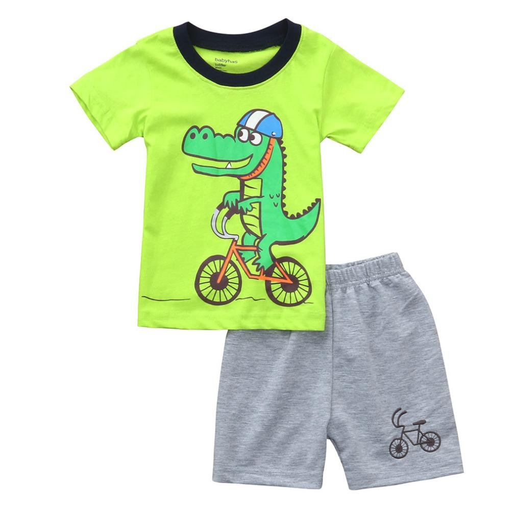 94c388c94d9 ... Hot Sales! Baby Toddler Kids Boys Short Sleeve Cartoon Crocodile Tops  Bike Shorts Summer Outfit Home Wear Clothes for 1-6 Years Old Boys (Age  4-5  T)