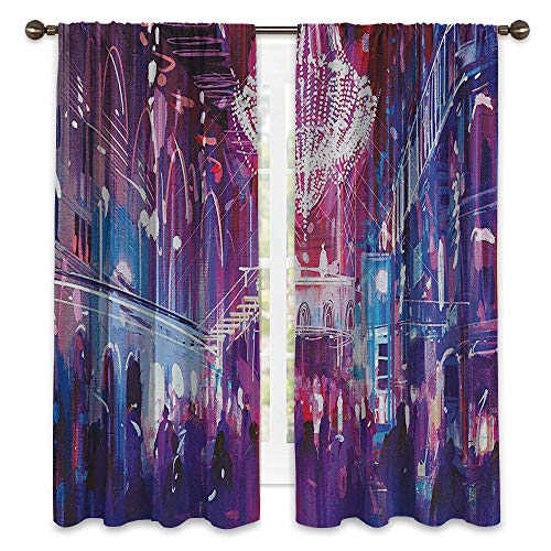 SATVSHOP Room Darkening Wide Curtains - 120W x 72L -Customized Curtains(Set of 2 Panels).Fantasy Art House Opera Opening Elite People Night Club Bright Lights Big Crowd Artwork Blue. (Beaded Elite Panel)