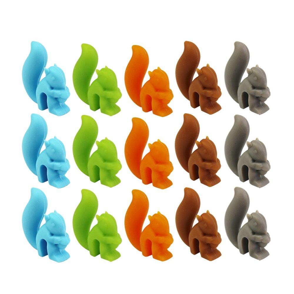 Tea Bag Holder 15 Pcs Cut Squirrel Shape Silicone Tea Bag Holder Drink Marks