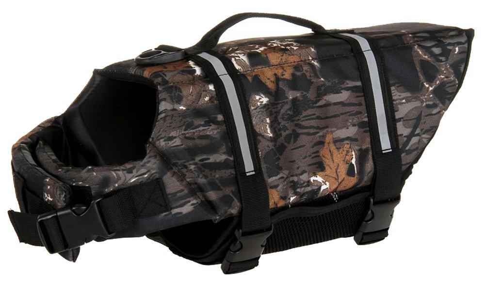 Woo Woo Pets Dog Life Jacket Adjustable Dog Life Preserver Camouflage Dark XXL
