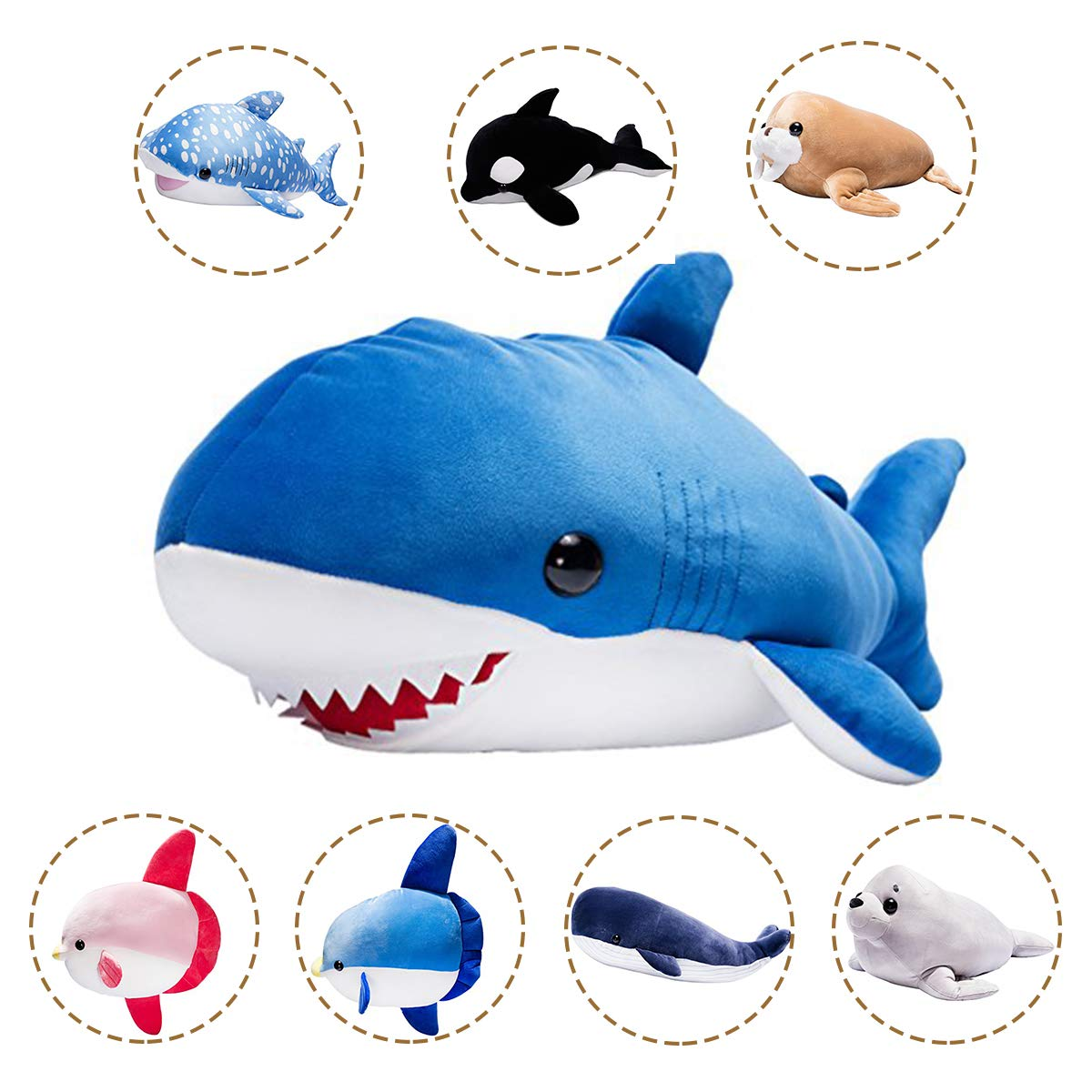 LALA HOME Neat Soft Shark Stuffed Animal | 28'' Plush Ocra Fish Toy | Large Shark Body Hugging Pillow | Children's Gifts