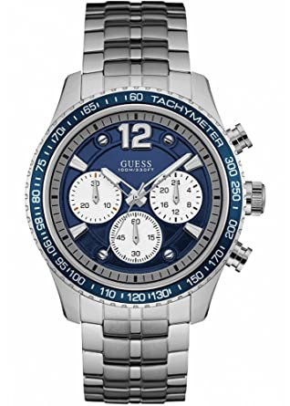 Guess Watches Mens Guess Mens Silver-Blue Watch