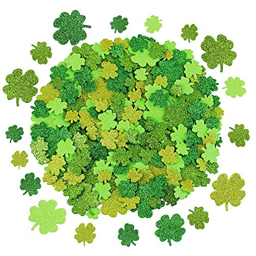(240 Pcs 3 Sizes 4 Colors Glitter Foam Shamrock Stickers Lucky Irish Four Leaf Clover Stickers for St. Patrick's Day Kids Crafts Classroom)