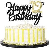 PALASASA Black Gold Glitter Happy Birthday cake topper - 12 Anniversary/Birthday Cake Topper Party Decoration (12th)