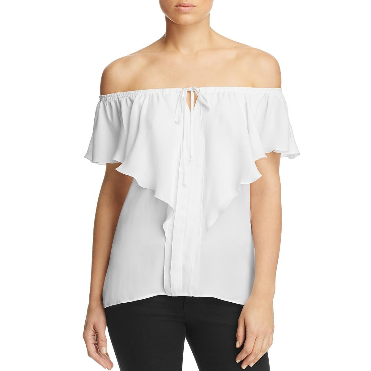 Kobi Halperin Womens Venetta Silk Off-The-Shoulder Blouse White S