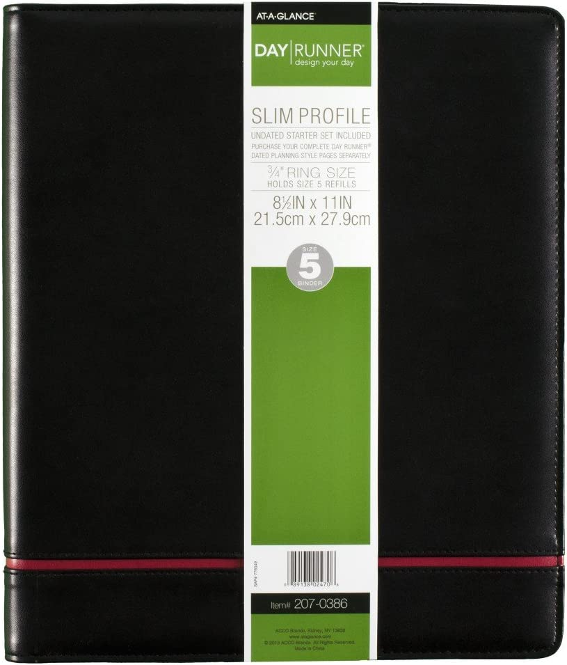 AT-A-GLANCE Day Runner Deco Slim Profile Starter Set, Undated, 3 Rings, Size 5, 8-1/2 x 11