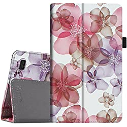 Fintie Folio Case for All-New Amazon Fire 7 Tablet (7th Generation, 2017 Release) - Slim Fit PU Leather Stand Protective Cover Auto Wake / Sleep, compatible with Fire 7 (5th Gen, 2015), Floral Purple