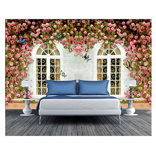 ZLJTYN [Customize-Contact us] Beauty and Wellness Center Continental, 3D Wallpaper Wallpaper, Self Adhesive, Arts and Fresh Garden of Roses, Wedding Paintings
