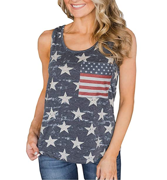 a32d7afcd12398 4th of July Women's American Flag Camo Tank Tops Sleeveless Stripes  Patriotic T Shirts (Grey