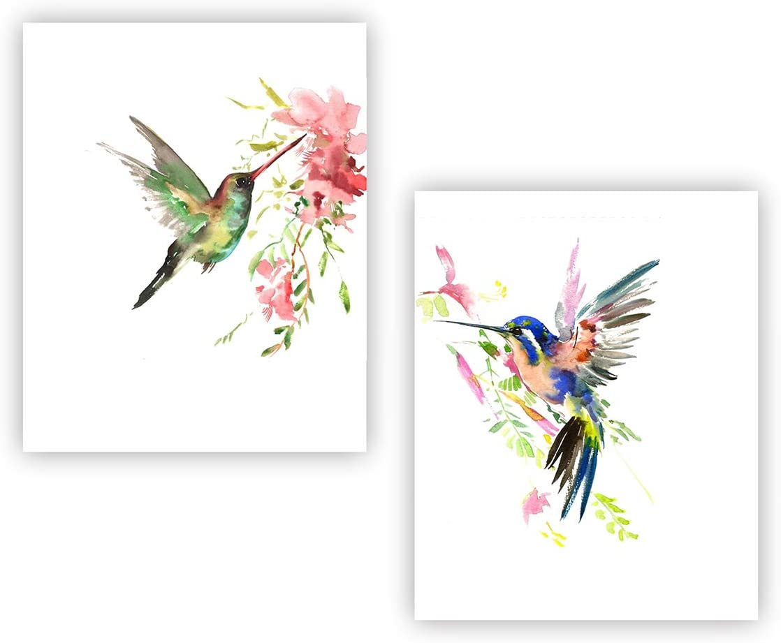 "Abstract Birds Art Print Watercolor Hummingbirds Set of 2(8""x10"" Art Print Hummingbirds Flower Decor Kitchen Bedroom Office Bathroom Home Decor (Unframed)"