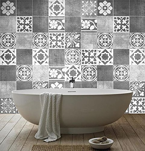 Tiles Stickers Decals - Packs with 56 Tiles (5.9 x 5.9 inches, Luxury Tile Artwork Stickers Wall Decoration) by Moonwallstickers (Image #1)