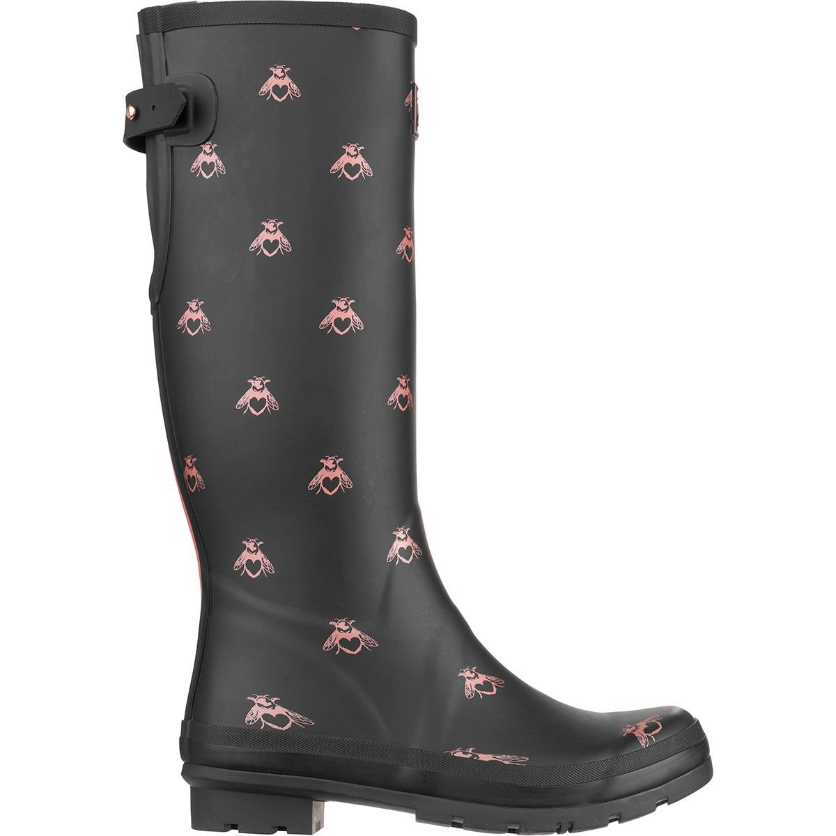 Joules Womens Welly Print Black Love Bees Rubber Boots 7 US
