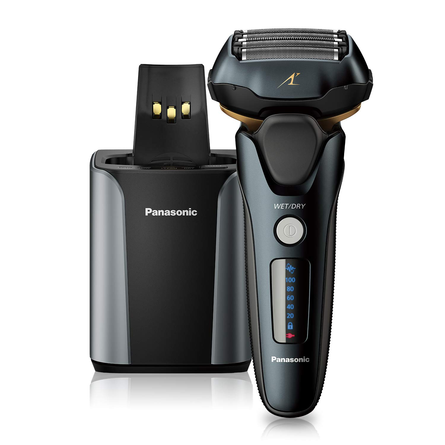 Panasonic Arc5 wet/Dry Electric Shaver & Trimmer for Men, 16-D Flexible Pivoting Head & Auto Cleaning & Charging System, ES-LV97-K, Black