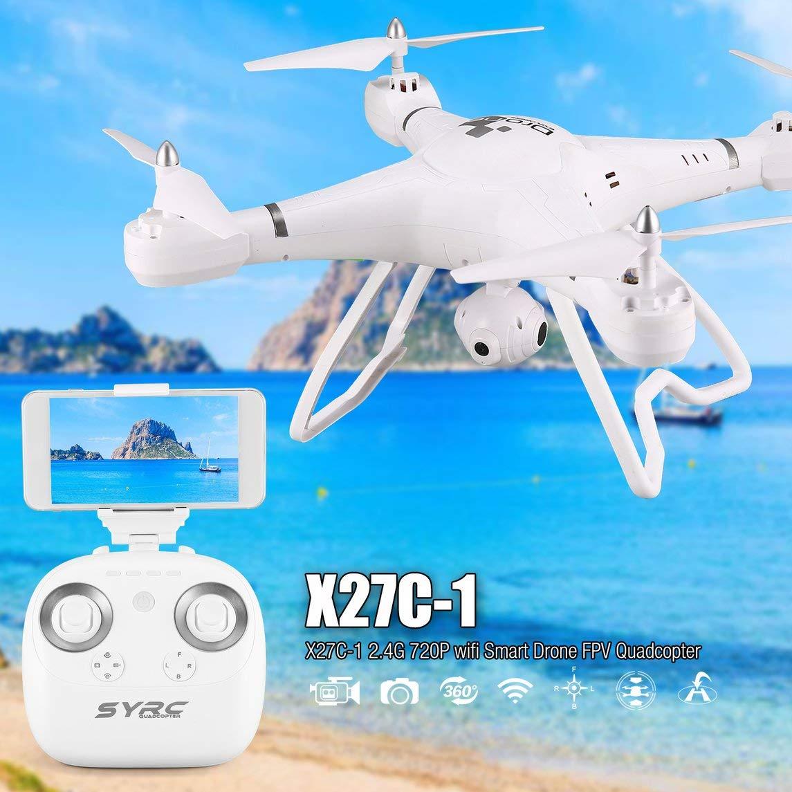 Footprintse X27C-1 2.4G RC Selfie Smart Drone FPV Quadcopter Flugzeuge mit 720P HD Kamera Echtzeit Höhe Hold Headless Modus 3D Flip-Farbe:Schwarz