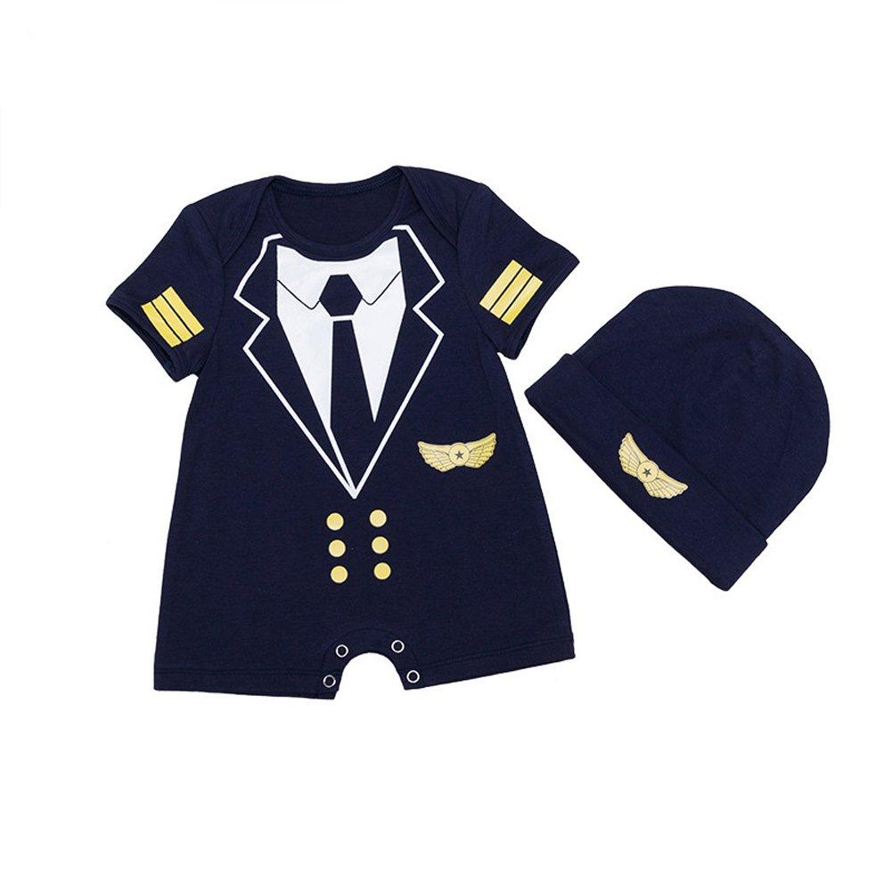 ALLAIBB Baby Boy Strampler Pilot Uniform Kostüm Cosplay Outfits mit Cap