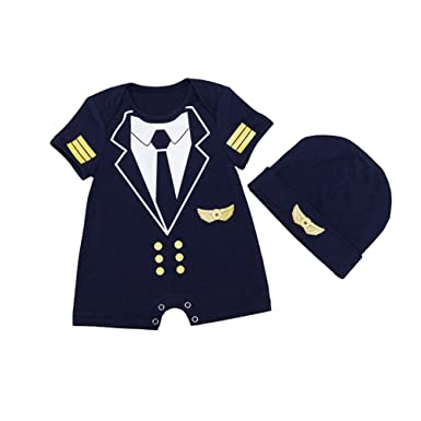 e599ff9bdb42 ALLAIBB Baby Boy Romper Pilot Uniform Costume Cosplay Outfits with Cap   Amazon.co.uk  Clothing