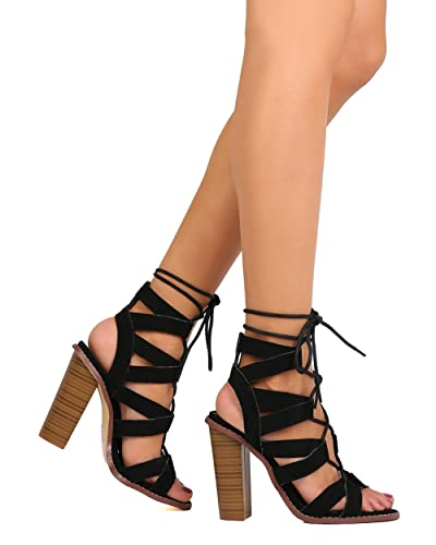c944bb8a98d Amazon.com | Liliana Women Faux Suede Peep Toe Strappy Lace Up ...