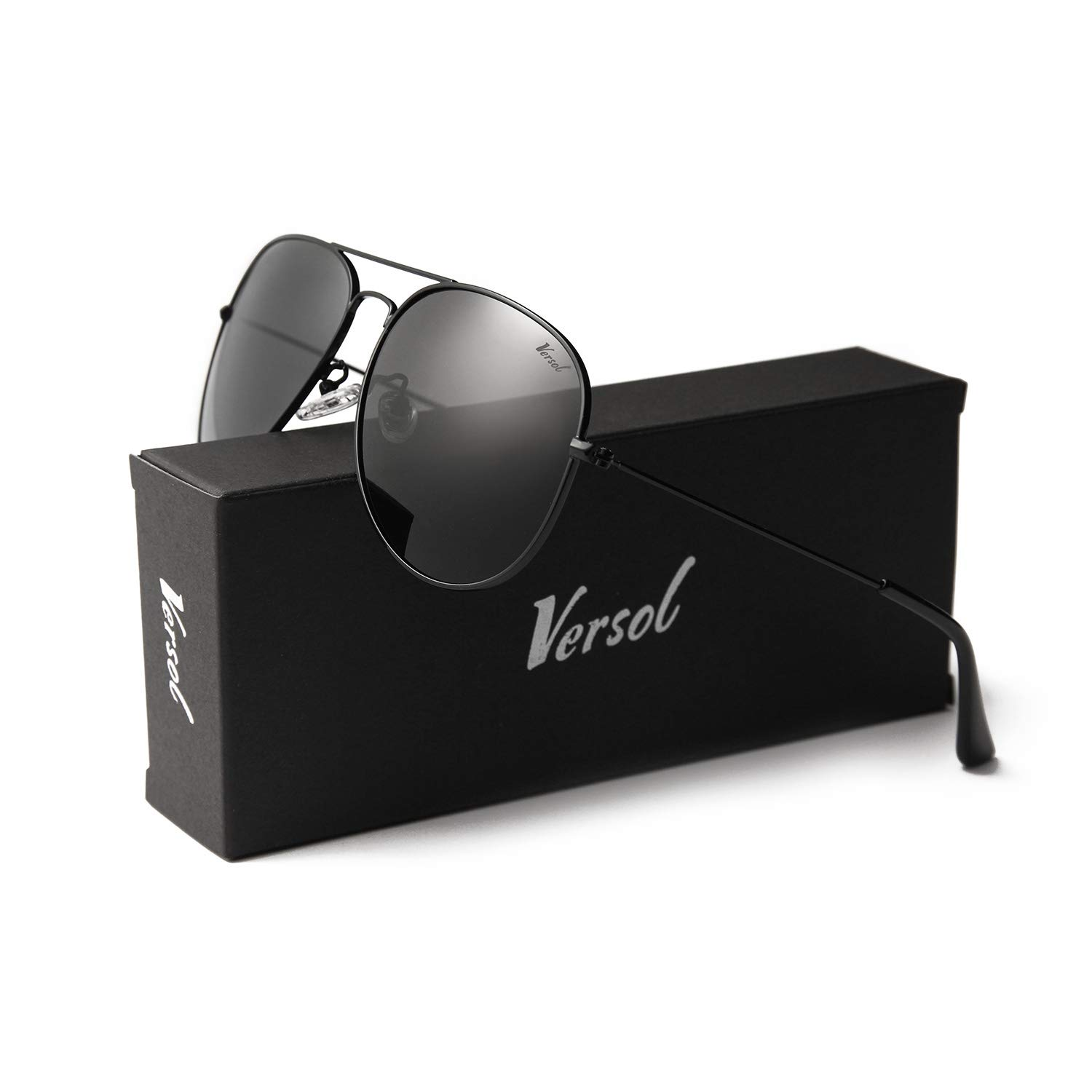 0b2a50ce212 Versol Aviator Sunglasses for Men Women Polarized Metal Frame and UV 400  Protection 60mm - Premium Classic Style (Black Lens + Black) at Amazon Men s  ...