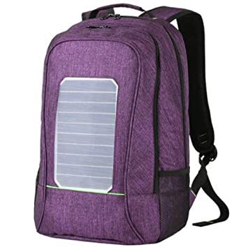 WDGT Mochila solar mochila de senderismo con energía solar Mochila con cargador solar integrado para computadoras portátiles, purple, 20 inch: Amazon.es: ...