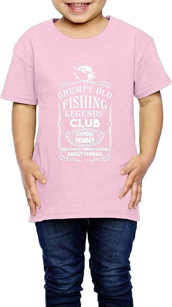 Yishuo Kid Grumpy Old Fishing Legends Club Founder Humor Hiking Shirt Short Sleeve Pink 4 Toddler