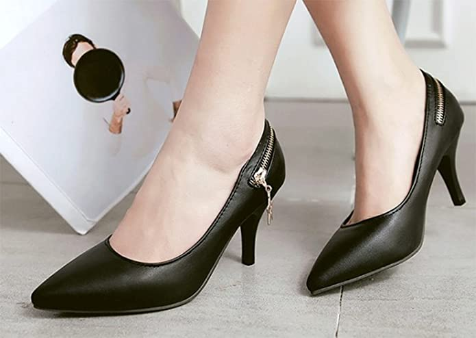Easemax Women's Zipper Pointed Toe Low Top High Stiletto Heel Slip On Court  Shoes With Pendants: Amazon.co.uk: Shoes & Bags