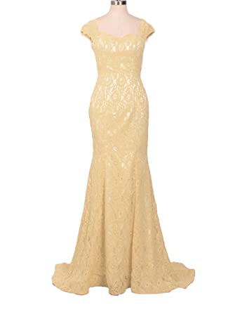 Stillluxury Maxi Long Lace Mermaid Evening Gowns for Women Prom Bridesmaid Dresses Champagne Size 6
