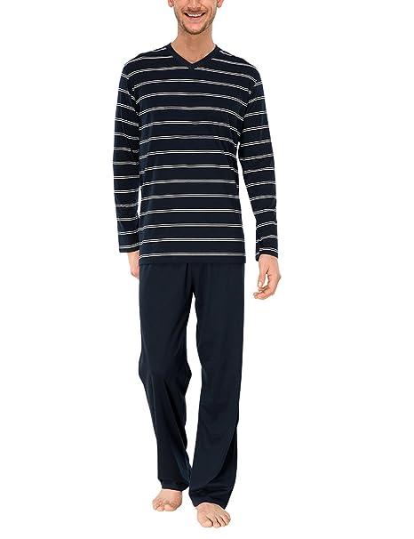 Schiesser Anzug Lang - Pijama Hombre, Azul (dunkelblau 803), Small