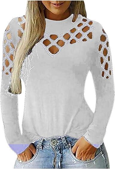 Camisetas Mujer Invierno Primavera Casual Sudadera para Mujer T ...
