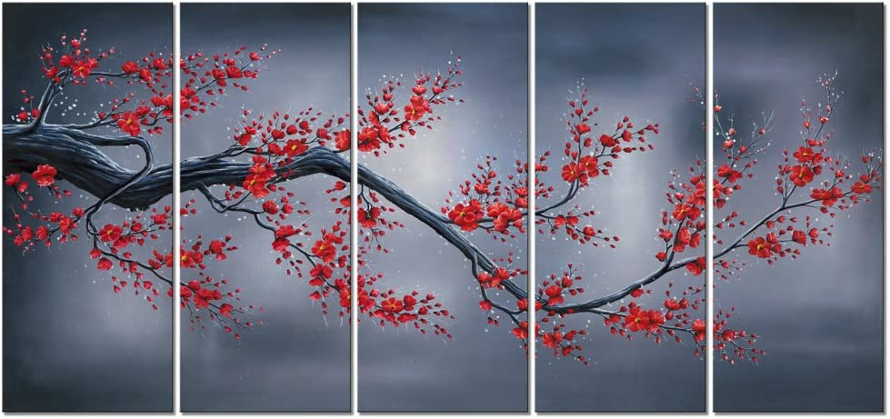 Wieco Art Red Plum Blossom 5 Piece Giclee Canvas Prints Wall Art By Floral Oil Paintings Reproduction Pictures for Living Room Bedroom Home Decorations Modern Stretched and Framed Flowers Artwork