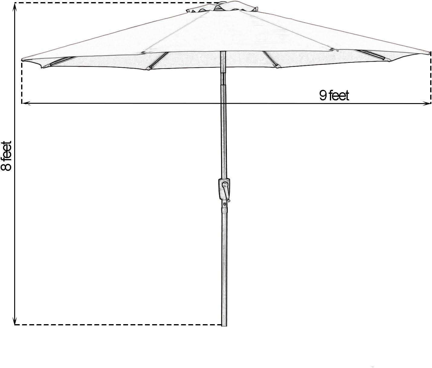Red SUNBRANO 9 Feet Patio Umbrella Outdoor Aluminum Market Table Umbrella with Push Button Tilt and Crank 8 Steel Ribs