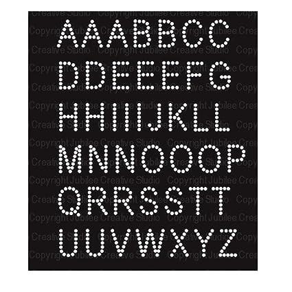 7397b7e75e Amazon.com: Basic Alphabet Iron On Rhinestone Crystal Transfer by ...