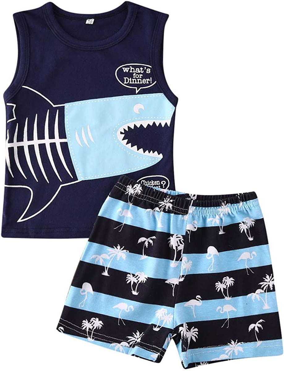 Infant Baby Boy Sleeveless Vest Shark Tank Tops Striped Shorts Set Outfits Summer Beach Clothes