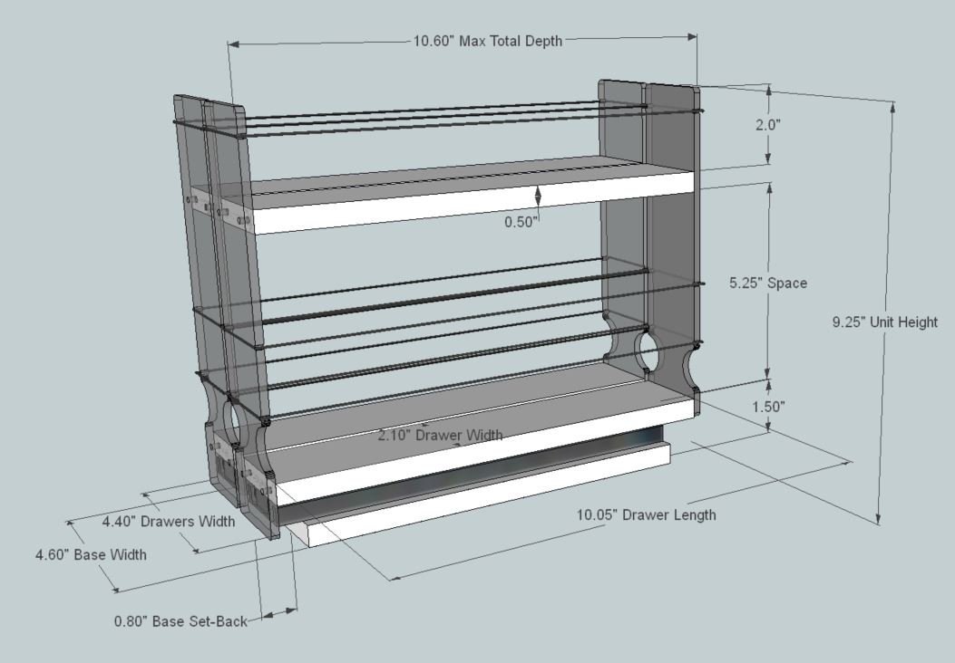 Vertical Spice - 22x1.5x11 DC - Spice Rack for Cabinet Storage - 2 Drawers with 2 Shelves - Easy to Install by Vertical Spice