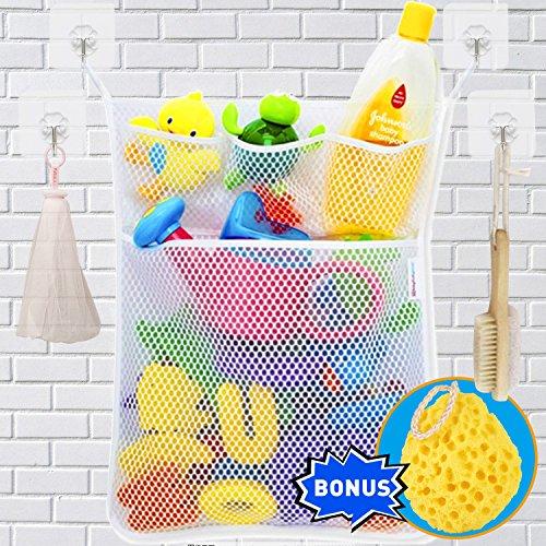 Wemk Bath Toy Bag Baby Bath Toy Organizer Bathroom Storage Net With 4 Self Adhesive Robust Hooks and Shower Sponge for Baby Bath