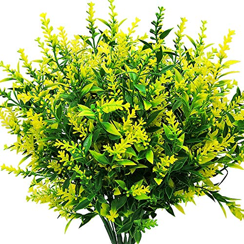 Grunyia Artificial Lavender Flowers Plant Bouquet for Wedding Decor and Table Centerpieces Home Decor, Office, Garden, Patio Decoration (6 Piece, Yellow)