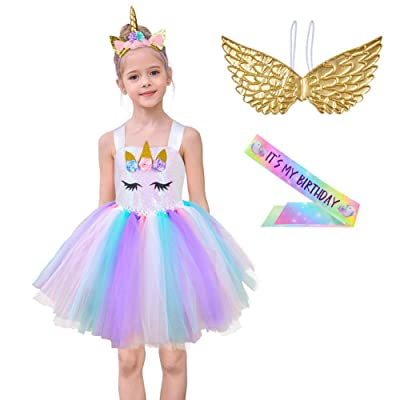 MHJY Girls Sequin Unicorn Tutu Dress Princess Birthday Party Carnival Unicorn Costume with Headband, Wings and Sash: Toys & Games